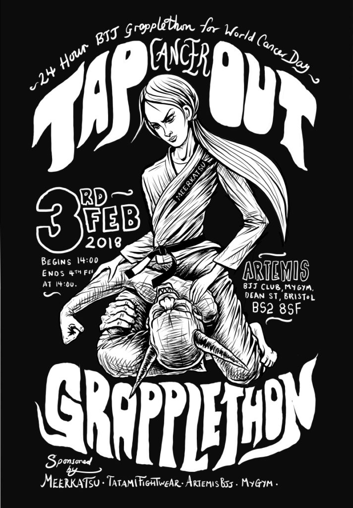 Artemis BJJ Brazilian Jiu Jitsu Charity GrappleThon for Tap Cancer Out, Meerkatsu poster